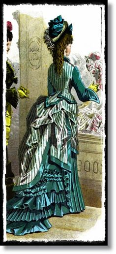 Victorian Bustle Dress Teal Striped