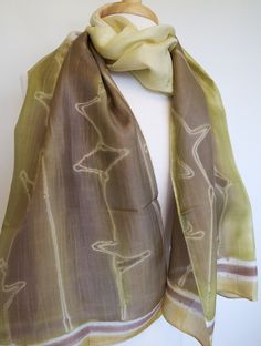 S263 Hand Painted Silk Scarf - Olive w Brown Leaves