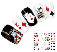 NAGELSTICKER Nail Art Tattoo Aufkleber Kartenspiel Spielkarten Herzkönig in Beauty & Gesundheit, Maniküre & Pediküre, Nail-Art-Zubehör | eBay