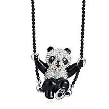 Butler & Wilson Crystal Swinging Panda Chain 42cm Necklace