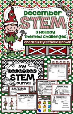Build a parachute for Santa, a shelf for the elf, and tallest tree! 3 Holiday and December Themed STEM Challenges for Elementary Students! | STEM Activities | STEM Projects