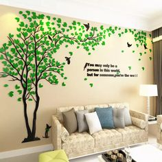 tv background on sale at reasonable prices, buy Big Tree Wall Murals for Living Room Bedroom Sofa Backdrop TV Background Wall Stickers Home Art Decorations from mobile site on Aliexpress Now! Wall Stickers Home Decor, Wall Stickers Murals, Home Wall Decor, Room Decor, Wall Decals, Family Stickers, Tree Wall Murals, Mural Art, Boho Home