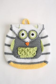 Crochet Cute Kids' Backpacks Like a Pro Using 9 Free Patterns - adorable owl backpack idea.