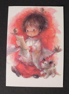 Vintage Unused Hallmark Christmas Greeting Card Girl Angel Birds Singing