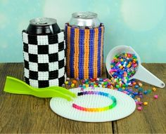 Perler Bead Checkerboard Can Cozies #pattern