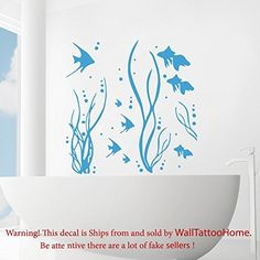 Wall Decals Sea Ocean Fish Seaweed Decal Vinyl Sticker Bathroom Nursery Home Decor Art Mural Ms552 -- For more information, visit image link. Note: It's an affiliate link to Amazon