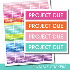 Project due stickers, Project due planner stickers, Project due printable stickers, School stickers, Student sticker, Study stickers STI-238