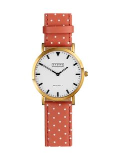 Coral Polka Dot Watch Strap / I can see it peeking out, from a denim shirt sleeve.