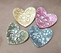 Four Ceramic Lace Heart ring bowls
