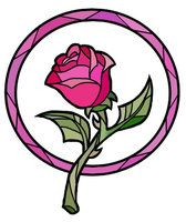 Absolutely STUNNING Enchanted Rose stained glass tat image!
