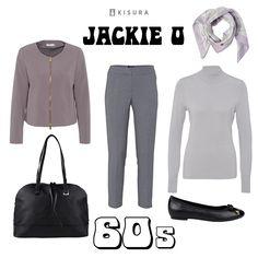 +++ 60´s Style +++ Kurzblazer, schwarze Handtasche, graue Anzughose, Rollkragen-Shirt, schwarze Ballerinas, Tuch //short blazer, black handbag, grey dress pants, turtleneck sweater, black flats, scarf.