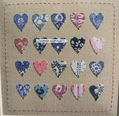 ' Laura Ashley Hearts ' Designed & Stitched By Helen Drewett,  Collectable Samplers photo