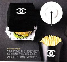 """This """"Designer fast food"""" ad for Chanel is genius! How cool would it be if your local McDonald's servers wore designer uniforms, served your food on Chanel logo."""