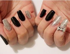 Black grey nails