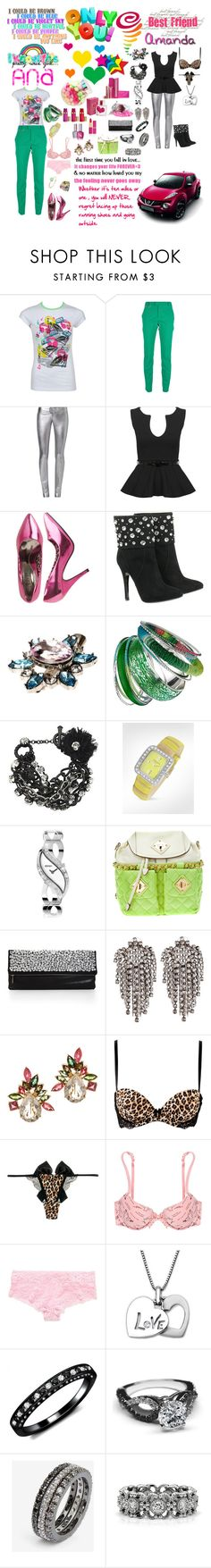 """""""ana x amanda"""" by dani-elle ❤ liked on Polyvore featuring Estée Lauder, Love Quotes Scarves, Dsquared2, SLY 010, Wet Seal, Balmain, ASOS, Dorothy Perkins, Betsey Johnson and Forzieri"""