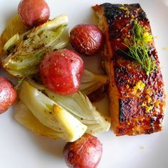 Orange Glazed Salmon with Roasted Fennel and Red Potatoes | taste love and nourish