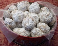 Southern Pecan Butterballs One of my all-time favorite recipes! Ingredients: 1 c butter, room temperature c sifted powdered (confectioner's) sugar 2 tsp pure vanilla extract 2 c all-purpose… Köstliche Desserts, Dessert Recipes, French Desserts, Dessert Ideas, Mexican Wedding Cookies, Russian Tea Cake, Roll Cookies, Pecan Cookies, Kiss Cookies