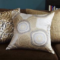 Tree Rings Silk Pillow Cover on westelm.com... might work on sofa's?