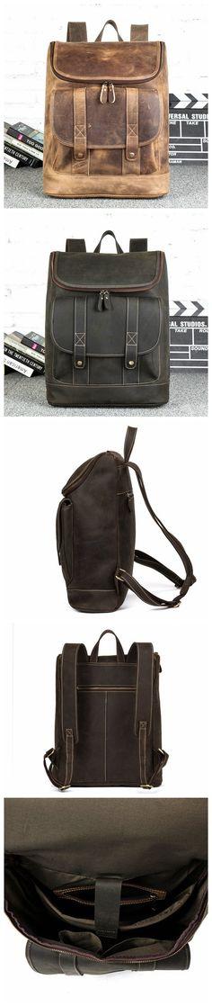 ROCKCOW Handmade Vintage Leather Backpack, Travel Backpack, School Backpack B182