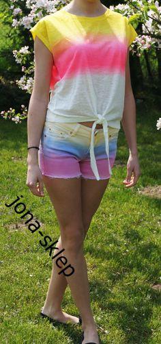 Ombre shorts neon kolor cieniowane
