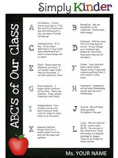 ABC's of Your Class Freebie