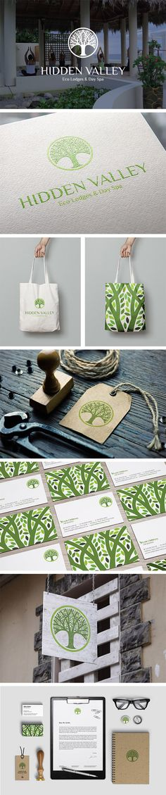 Identidad de marca Logo Design, Brand Identity Spa, Tree Eco Retreat | modern, green, zen, circle, yoga, leaf | Hidden Valley Eco Lodge, Perth WA | Celine Le Duigou, Freelance