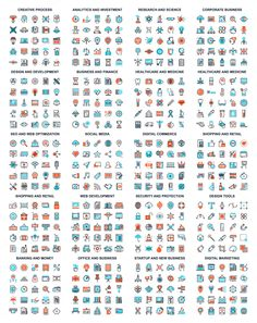 Colorful Flat Line Web Icons by vasabii on @creativemarket