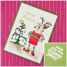 Art Impressions Rubber Stamps: Ai Reindeer Games...Handmade Christmas card.