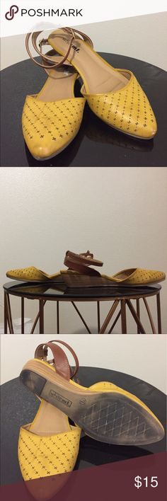 "Two tone point-toe flats I love these!! Mustardy yellow with brown detail. Such a cute summer shoe, only worn a few times. White mt. brand, comfortable! Tiny wedge- maybe 1.5"" great condition Unlisted Shoes Wedges"
