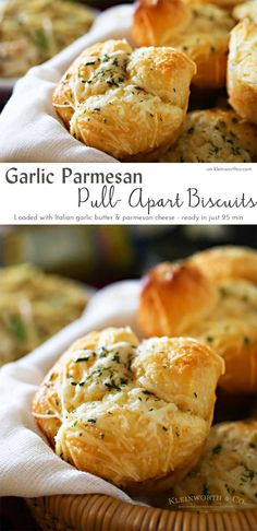 Refrigerator biscuits, Italian garlic butter & Parmesan cheese make these Garlic Parmesan Pull Apart Biscuits. A simple side with easy family dinner ideas. on kleinworthco.com #MangiaTonight AD