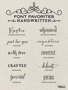 Elegance and Enchantment Font Favorites - Handwritten fonts for blogging, crafts, and DIY projects!