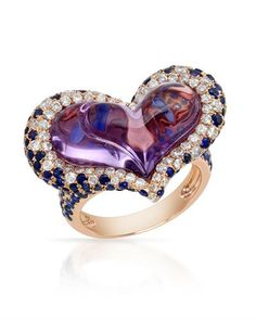 Heart ring with genuine amethysts, diamonds and sapphires crafted in rose gold.