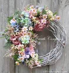 Summer Wreath, Floral Wreath, Victorian Garden, Elegant Wreath, Designer Wreath, Country French, Wedding Wreath. Mothers Day Gift  Country French Cottage Garden Wreath. Lush blossoms and greenery flourish in abundance upon a whitewashed grapevine wreath. A beautiful array of gorgeous soft teal/mint green Hydrangeas, dusty rose ruffled edge Peonies, and other garden favorites in pale lilac, pink and creamy ivory join in a glorious medley to create this stunning romantic Springtime treasur...