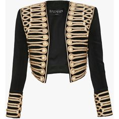 Cropped appliqued jacket | Women's blazers | Balmain ($4,680) ❤ liked on Polyvore featuring outerwear, jackets, balmain, vest waistcoat and balmain vest