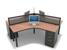 Our 3 person 120 Degree desking Configuration is a great space saving option for those looking for an open office feel. http://joycecontract.com/office_tables_desks/desking_benching.html