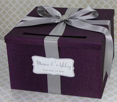 Wedding Card Box Plum Purple and Silver Classic by LittleDivine