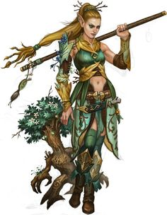 Here's a female elf druid with a pet TREE!