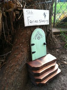 3 piece Fairy Garden set....fairy door stairs and by WoodenBLING, $35.00