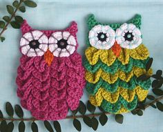 Crocodile Stitch Owls Crochet Pattern