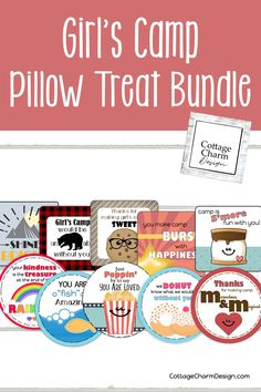 Perfect for girls camp! Pillow treat printable bundle. Love these tuck-in-treat ideas! #girlscamp #pillowtreatideas #tuckintreats Pillow Treats, Gummy Fish, Fish Crackers, Camping Pillows, 6 Tag, Girls Camp, Cottage Design, As You Like, Young Women