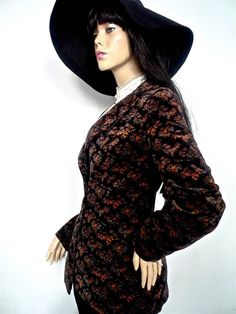 70s Printed velvet fitted Jacket with wide lapels