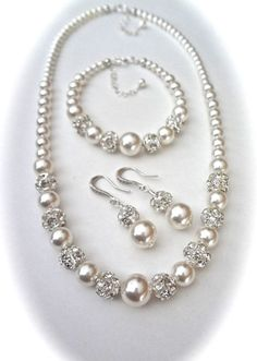 Chunky pearl jewelry set Swarovski pearl and by QueenMeJewelryLLC