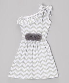 Another great find on #zulily! Gray & White Zigzag Asymmetrical Dress - Toddler & Girls #zulilyfinds