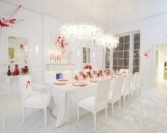 Dexter themed dining room- creepy, yet interesting that someone would put it together...