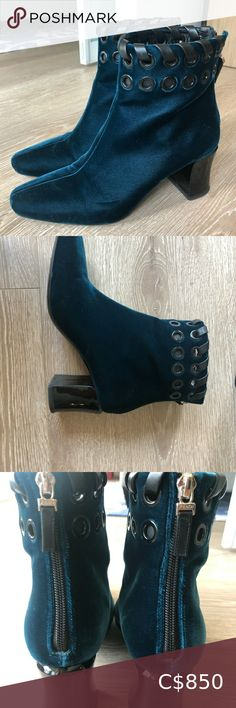 Auth FENDI Velvet Boots Beautiful Fendi boots worn a handful of times. Leather detailing. 2.5 inches heels. Overall height 8 inches. Fendi Shoes Ankle Boots & Booties Sock Ankle Boots, Ankle Socks, Bootie Boots, 5 Inch Heels, Black Booties, Leather Wallet, Fendi, Velvet, Times
