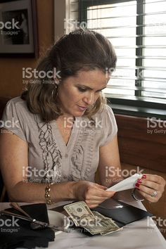 Checking the bill royalty-free stock photo
