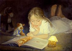 Instead of sleep, 2006 Tatiana Deriy Every child deserves to have a little reading lamp by their bed.   The linked blog is FULL of beautiful art images of children enjoying books. Nice!