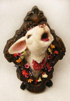 Spring lamb. Faux taxidermy (felt).