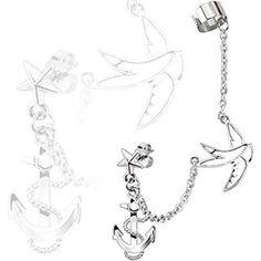 Ohrring und Ohrklemme mit Ohrstecker Stern mit Kette Ohrring Ohrstecker Swallow Dangles und Anker - http://schmuckhaus.online/body-jewellery-shack/ohrring-und-ohrklemme-mit-ohrstecker-stern-mit