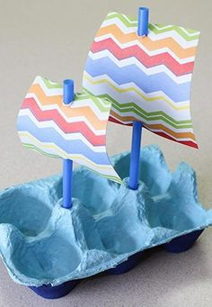 Customize with egg box: 60 perfect ideas to be inspired, . - Customize with egg box: 60 perfect ideas to be inspired # Egg box - Kids Crafts, Summer Crafts, Toddler Crafts, Preschool Crafts, Toddler Activities, Easy Crafts, Arts And Crafts, Paper Crafts, Boat Crafts